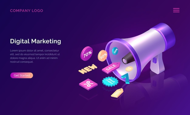 Conceito isométrico de marketing digital com megafone