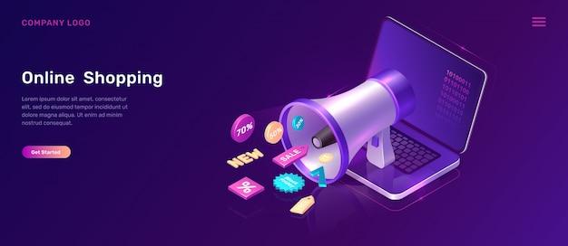 Conceito isométrico de marketing digital com megafone