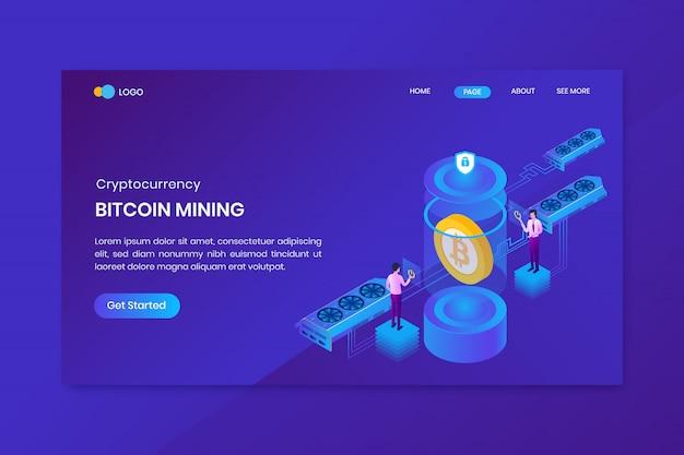 Conceito isométrico de mineração de nuvem de bitcoin