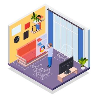 Conceito isométrico de mobília de realidade aumentada com fone de ouvido man in vr simulando sua presença na sala de estar virtual