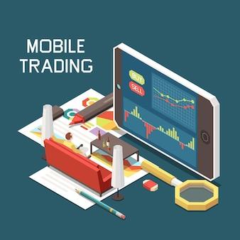 Conceito isométrico de negociação on-line móvel com ilustração de smartphone