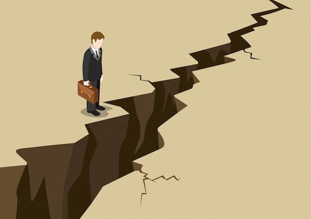 Conceito isométrico de obstáculo de negócios. o suporte do homem de negócios antes da rachadura à terra da terra olha abaixo da ilustração.