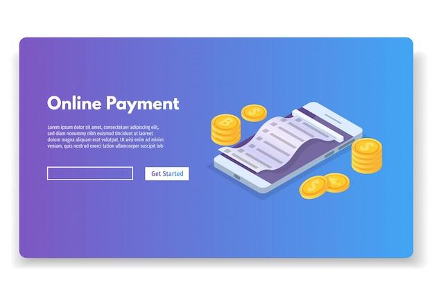 Conceito isométrico de pagamento on-line com recibo em dinheiro. bolsa para celular. ilustração vetorial