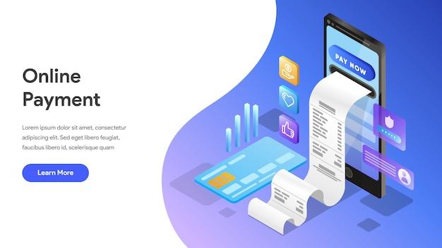 Conceito isométrico de pagamento on-line para landing page, página inicial, site