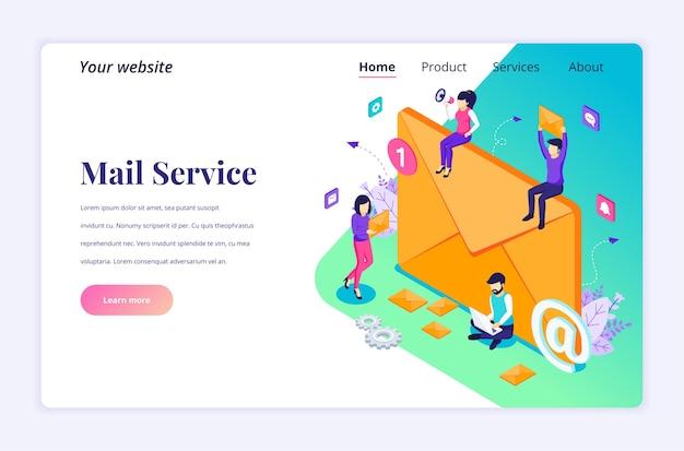 Conceito isométrico de página de destino de serviços de marketing por e-mail com personagens de executivos