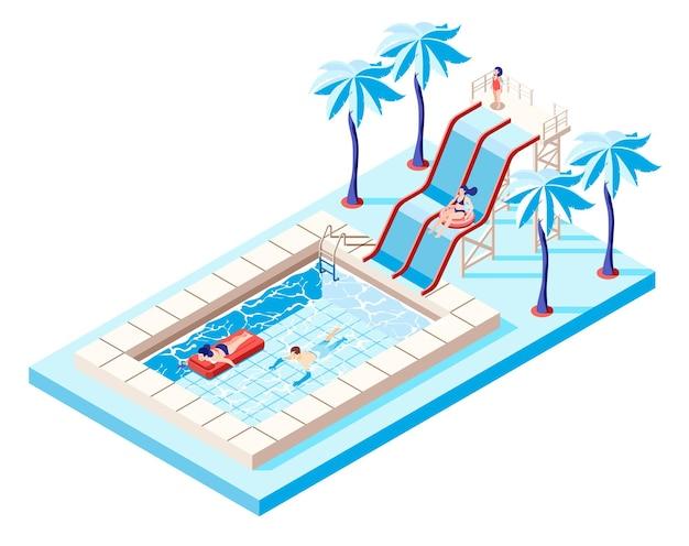Conceito isométrico de parque aquático com toboáguas e ilustração de piscina