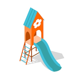 Conceito isométrico de playground para design de ilustração de passatempo familiar ao ar livre