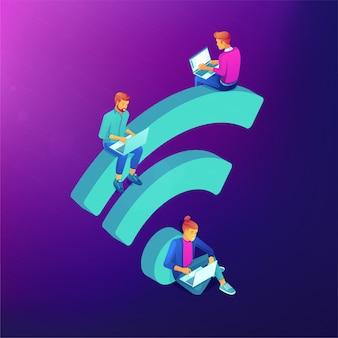 Conceito isométrico de ponto de acesso wi-fi gratuito.