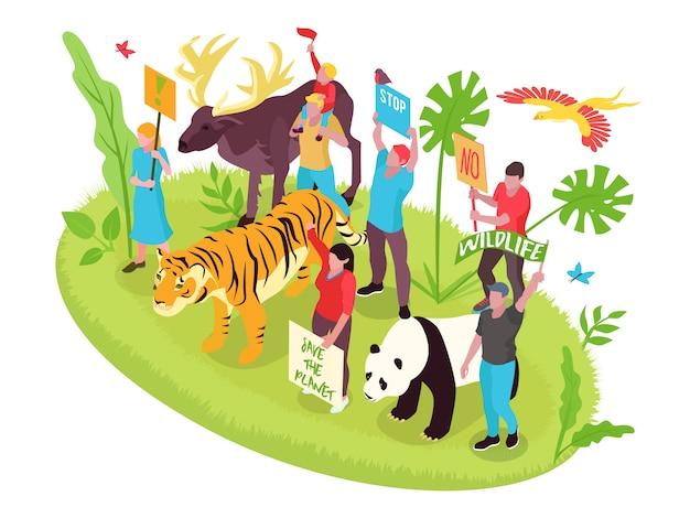 Conceito isométrico de proteção da vida selvagem com pessoas natureza e animais
