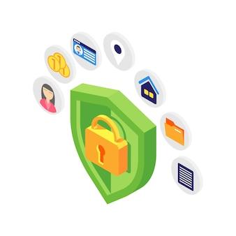 Conceito isométrico de proteção de dados pessoais com escudo verde em branco