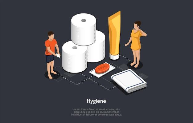 Conceito isométrico de recomendações de higiene pessoal, medidas de prevenção de infectados por vírus. as pessoas lavam as mãos com sabonete, usam guardanapos molhados, limpam os dentes com pasta de dentes. ilustração do vetor dos desenhos animados.
