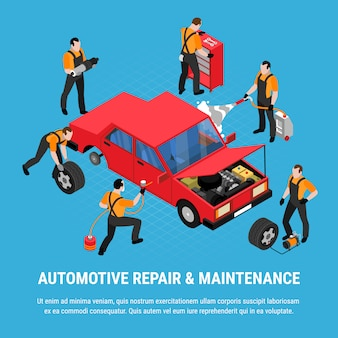 Conceito isométrico de reparação automotiva com ilustração em vetor ferramentas manutenção e equipamentos