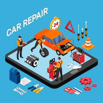 Conceito isométrico de reparação automóvel com peças de reposição e ilustração vetorial de ferramentas