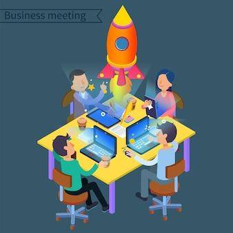 Conceito isométrico de reunião de negócios bem-sucedida. grupo de trabalhadores