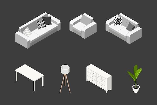Conceito isométrico de sala de estar. conjunto de móveis em estilo escandinavo.