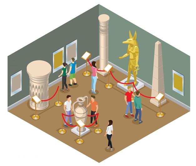 Conceito isométrico de salão de museu com visitantes visualizando imagens de estátua de faraó, coluna de ânfora antiga e edifícios históricos isolados