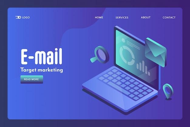 Conceito isométrico de segmentação por email