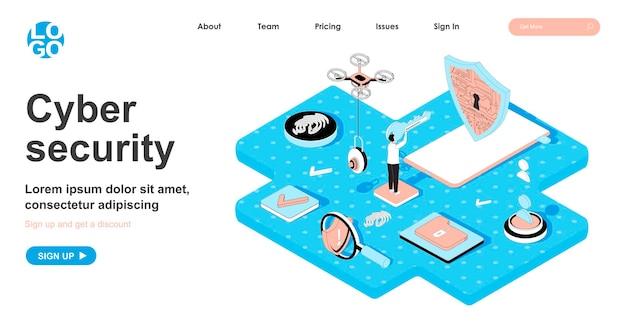 Conceito isométrico de segurança cibernética em design 3d para página de destino