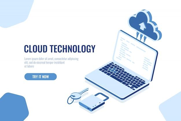 Conceito isométrico de segurança de dados, tecnologia de armazenamento em nuvem, banco de dados de sala de servidores remotos de transferência de dados