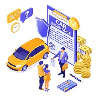Conceito isométrico de seguro de carro com apólice de seguro