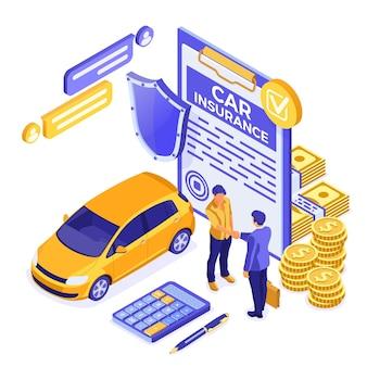 Conceito isométrico de seguro de carro para cartaz, site da web, publicidade
