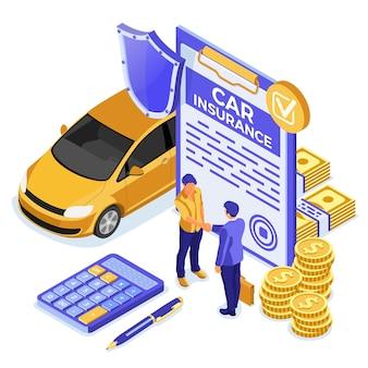 Conceito isométrico de seguro de carro para cartaz