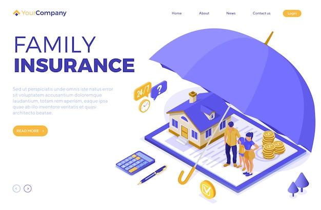 Conceito isométrico de seguro de finanças familiares de imóveis para anúncios em sites de web