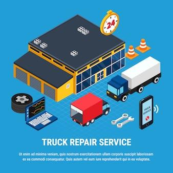 Conceito isométrico de serviço de reparo de caminhão com ilustração vetorial de ferramentas de diagnóstico