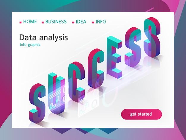 Conceito isométrico de sucesso empresarial