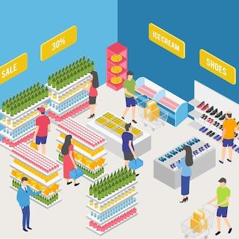 Conceito isométrico de supermercado