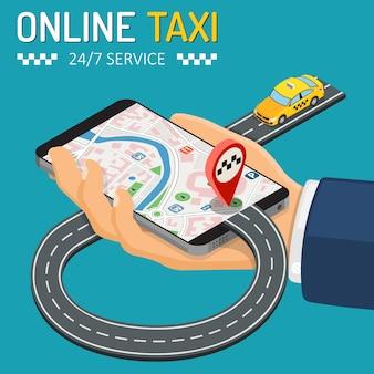Conceito isométrico de táxi on-line