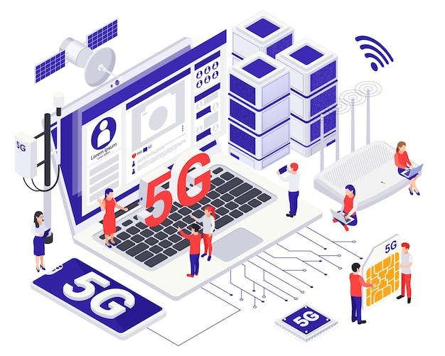 Conceito isométrico de tecnologia 5g de comunicação de internet moderna com pequenos caracteres perto de grandes equipamentos