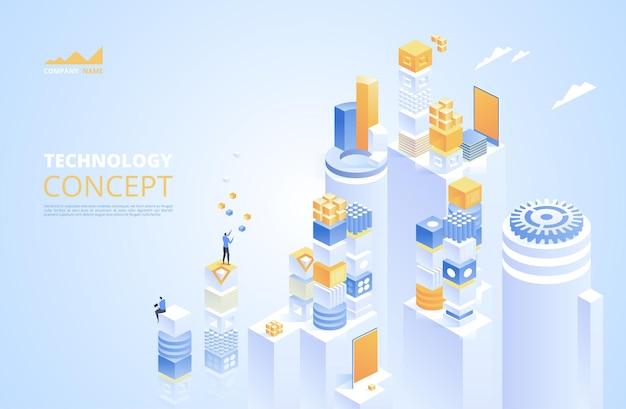 Conceito isométrico de tecnologia. criptomoeda e blockchain.