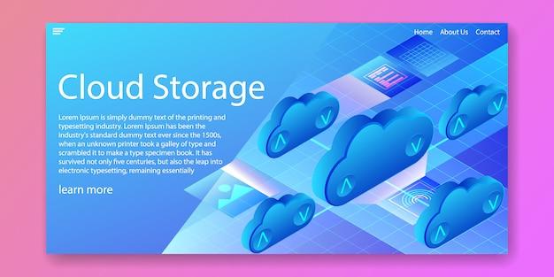 Conceito isométrico de tecnologia de armazenamento em nuvem