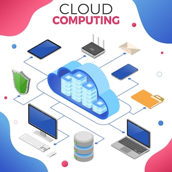 Conceito isométrico de tecnologia de computação em nuvem com ícones de computador, laptop, celular, tablet e escudo. servidor de armazenamento em nuvem de segurança. processamento de big data. ilustração vetorial isolada
