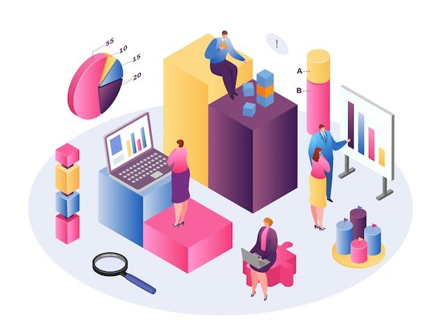 Conceito isométrico de tecnologia de negócios de análise de dados, analisando em forex, renda fixa e mercados, gráficos e resumo de informações sobre estatísticas e valor analítico, conceito de gestão de patrimônio.