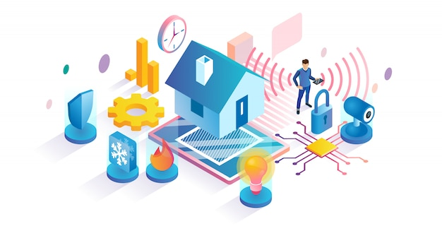 Conceito isométrico de tecnologia para casa inteligente