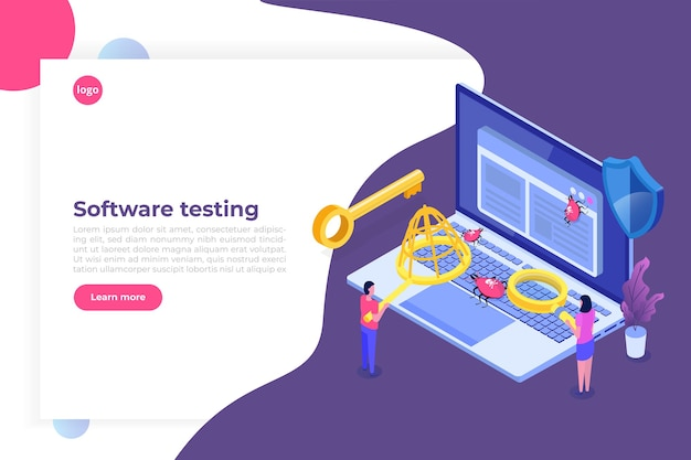 Conceito isométrico de teste de software ou aplicativo. processo de desenvolvimento de depuração.