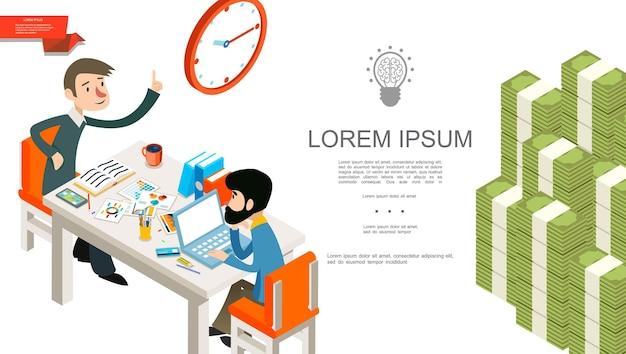 Conceito isométrico de trabalho em equipe de negócios com trabalhadores de escritório, relógio, papelaria, documentos, pastas, pilhas, laptop