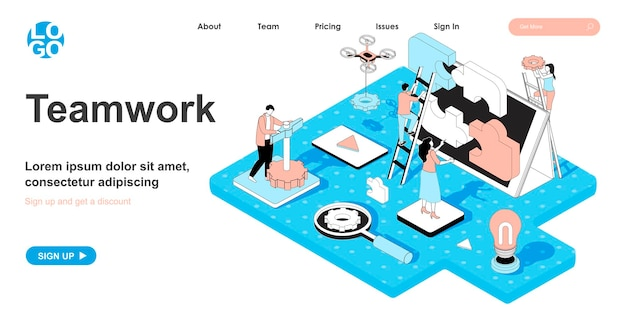 Conceito isométrico de trabalho em equipe em design 3d para página de destino