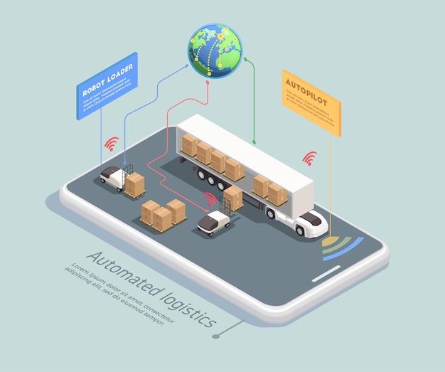 Conceito isométrico de transporte com robôs controlados remotamente carregando carga no caminhão com piloto automático