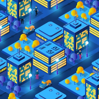 Conceito isométrico de ultra cidade de estilo violeta, um design moderno ultravioleta 3d da rua urbana de um arranha-céu, lâmpadas de rua e construção de cidade rodoviária. ilustração em vetor de fundo empresarial moderno.