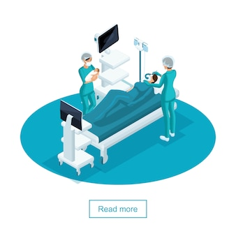 Conceito isométrico de uma sala de cirurgia em uma maternidade, um médico e um ginecologista obstetra, dão à luz na parturiente