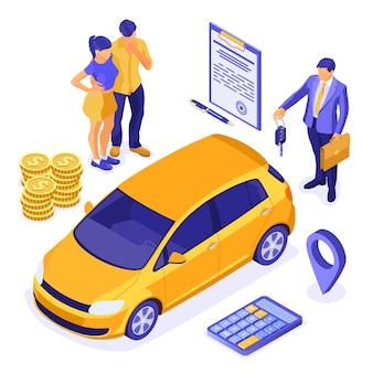 Conceito isométrico de venda, compra ou aluguel de carro com casal e corretor de imóveis com chave