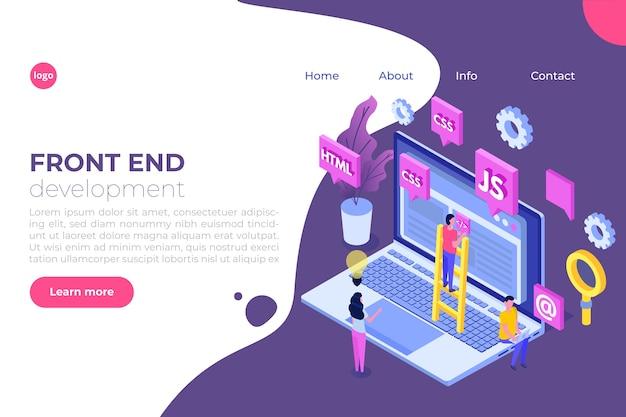 Conceito isométrico de web design e desenvolvimento de front end