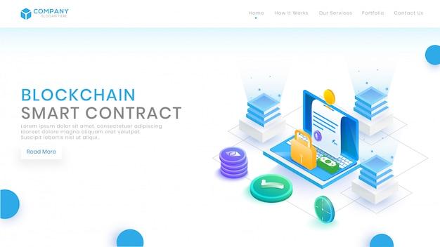 Conceito isométrico do contrato do blockchain com blocos.