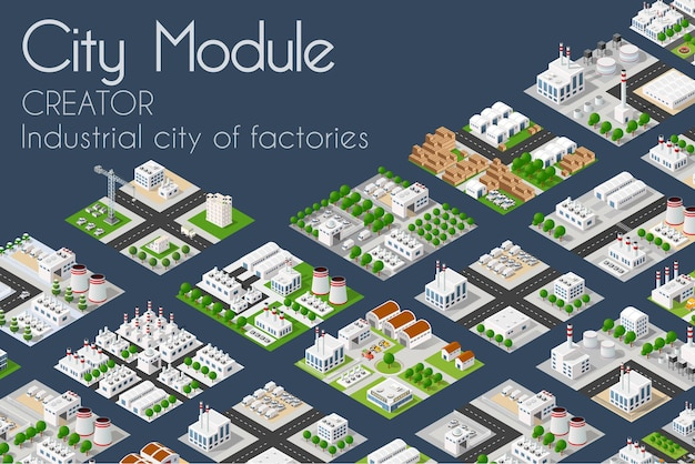 Conceito isométrico do criador industrial da fábrica do módulo da cidade
