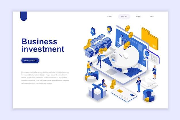 Conceito isométrico do design plano empresarial moderno de investimento.