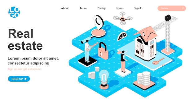 Conceito isométrico imobiliário em design 3d para página de destino