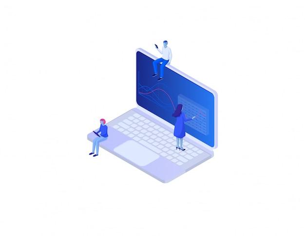 Conceito isométrico infográfico social de análise on-line. desenvolvimento de estratégia analítica de tecnologia on-line de diagramas.